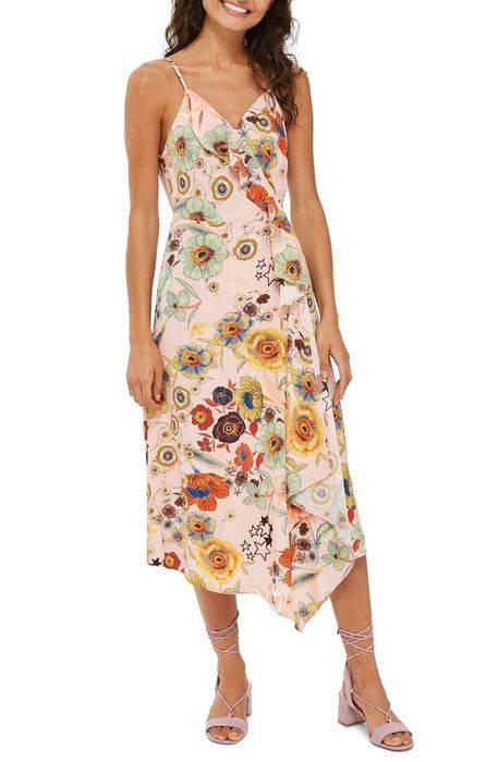 star floral ruffle wrap slipdress スター フローラル ラッフル ラップ レディースファッション ドレス