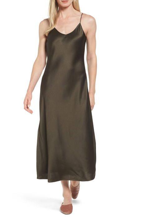 satin midi slipdress サテン ミディ レディースファッション ドレス
