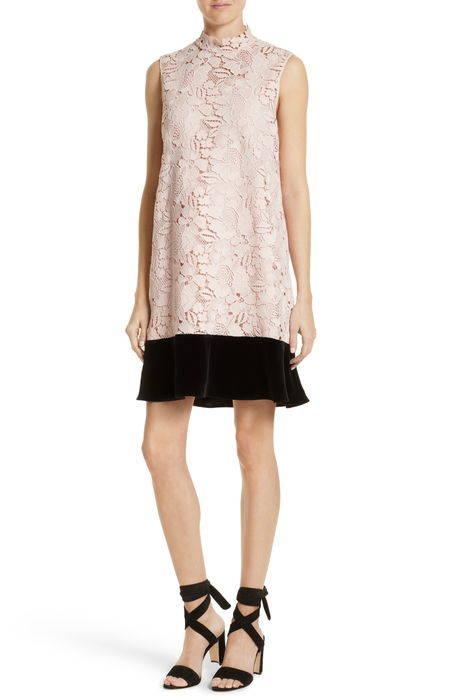 lace velvet shift dress レース & ベルベット シフト ドレス ワンピース レディースファッション