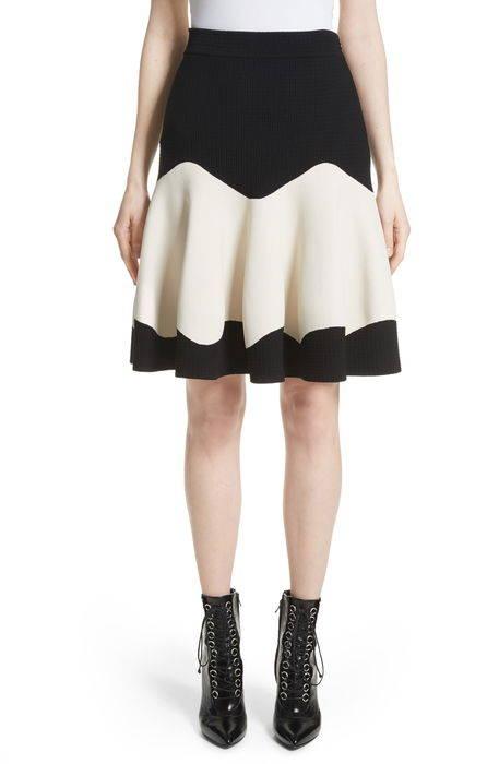 bicolor contrast jacquard flounce skirt コントラスト ジャガード スカート レディースファッション ボトムス