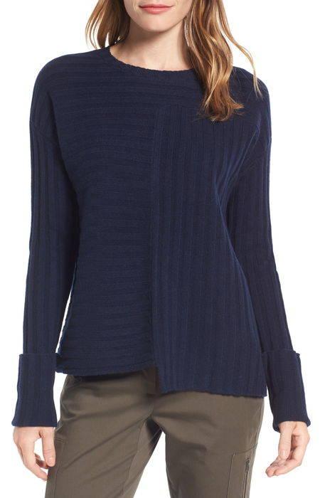 asymmetrical ribbed cashmere sweater リブ カシミヤ セーター レディースファッション ニット トップス