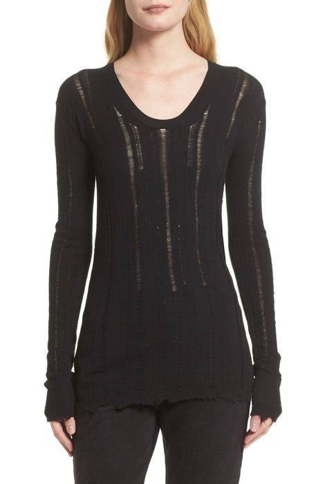 distressed merino wool pullover メリノ ウール プルオーバー レディースファッション トップス セーター ニット