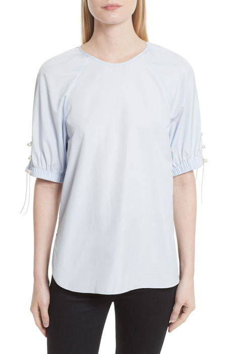 faux pearl chain lacing cotton top パール & チェイン レーシング コットン トップ レディースファッション シャツ トップス ブラウス