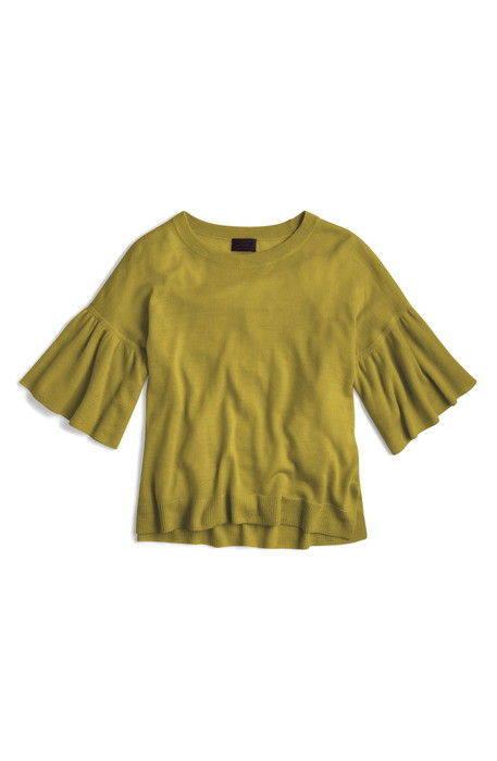 jcrew featherweight cashmere ruffle sleeve sweater j.crew カシミヤ ラッフル スリーブ セーター トップス レディースファッション ニット