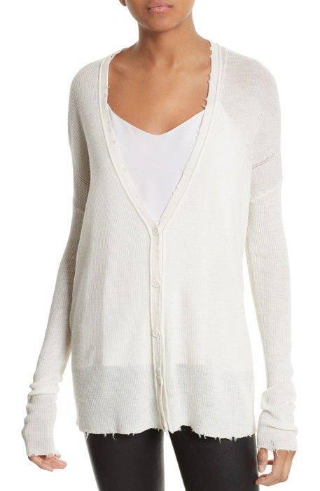 メリノ ウール カーディガン frayed merino wool cardigan レディースファッション トップス セーター ニット