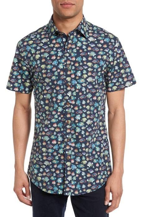 hawkdune regular fit print sport shirt レギュラー フィット プリント スポーツ シャツ トップス カジュアルシャツ メンズファッション
