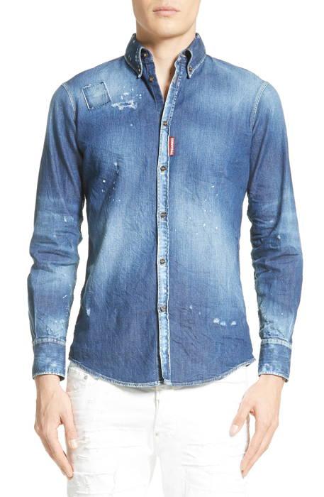 extra trim fit distressed denim sport shirt エキストラ フィット デニム スポーツ シャツ カジュアルシャツ メンズファッション トップス