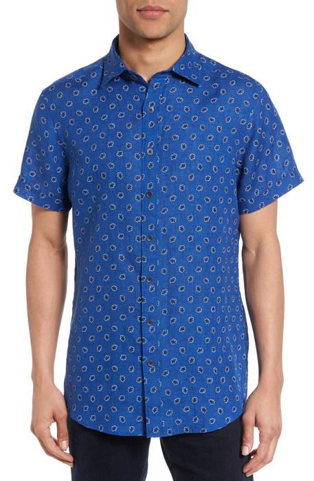 westerham regular fit print linen sport shirt レギュラー フィット プリント リネン スポーツ シャツ カジュアルシャツ メンズファッション トップス