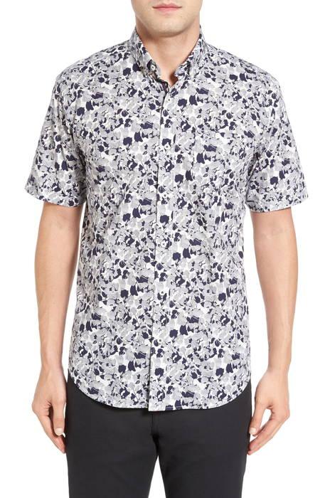 shaped fit optic swirl short sleeve sport shirt シェイプド フィット オプティック ショーツ ハーフパンツ スリーブ スポーツ シャツ カジュアルシャツ メンズファッション トップス