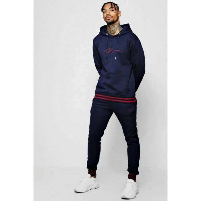 【海外限定】boohoo boohooman ブーフー 【 man signature hooded tracksuit with contrast rib 】 メンズファッション