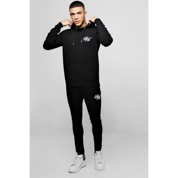 【海外限定】boohoo boohooman ブーフー 【 poly hooded bm tracksuit with side panels 】