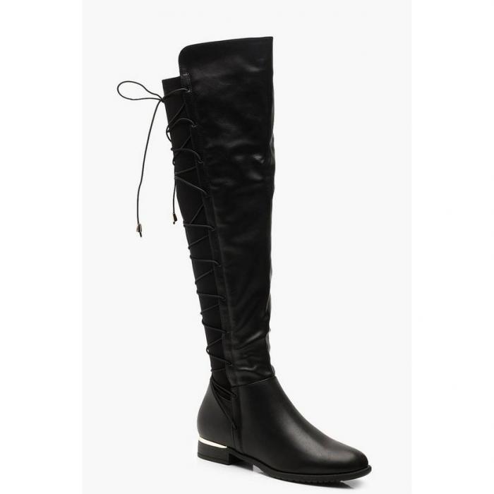 【海外限定】boohoo ブーフー 【 lace back flat knee boots 】