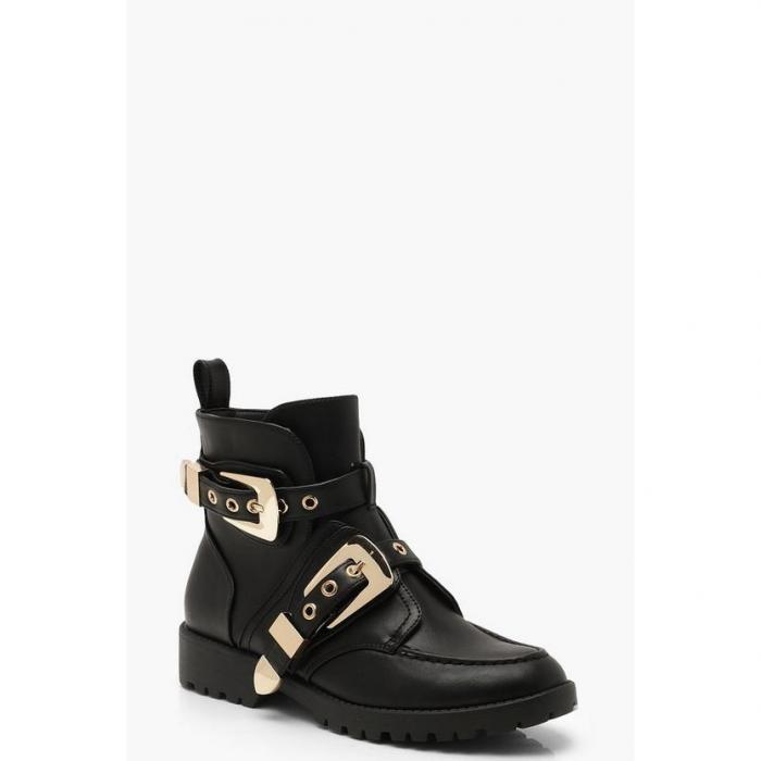 【海外限定】boohoo ブーフー バックル 【 chunky buckle ankle boots 】 靴