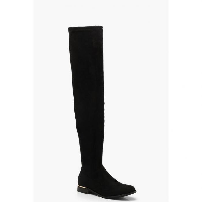 【海外限定】boohoo ブーフー メタル 【 metal trim over the knee boots 】