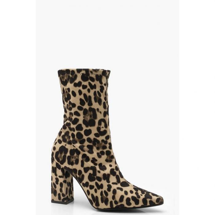 【海外限定】boohoo ブーフー 【 leopard block heel sock boots 】