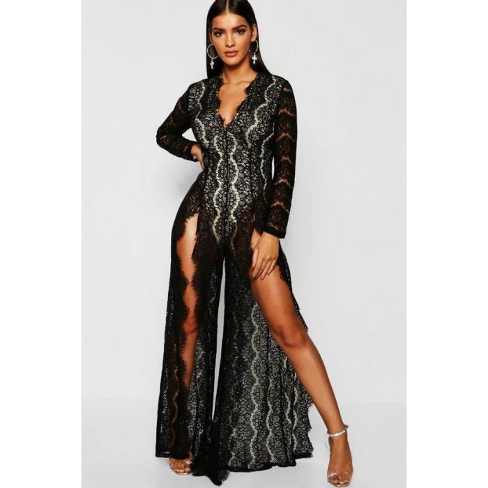 【海外限定】boohoo night ブーフー 【 boutique lace split front jumpsuit 】