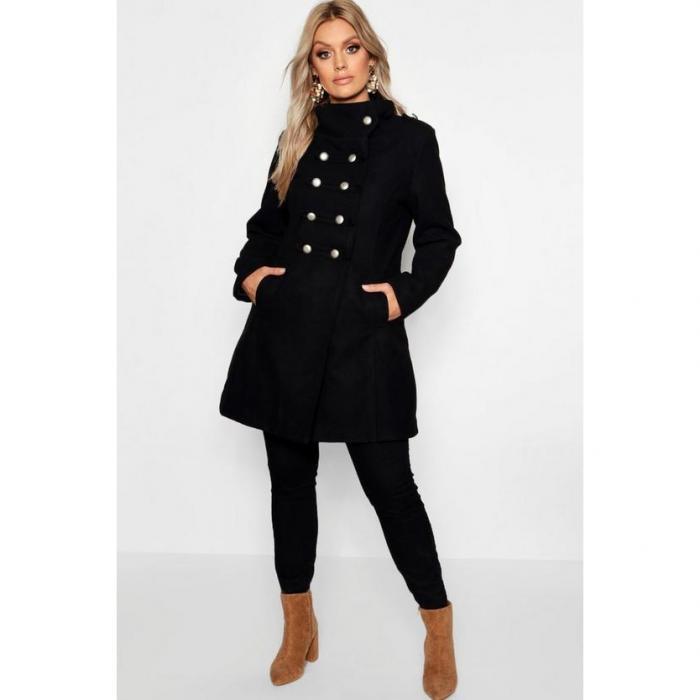 【海外限定】boohoo plus ブーフー ブーフープラス 【 military wool look coat 】