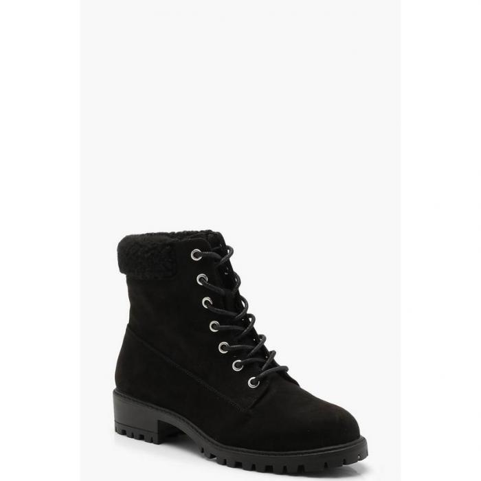 【海外限定】boohoo ブーフー 【 shearling collar hiker boots 】