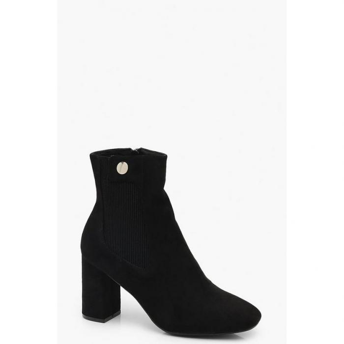 【海外限定】boohoo ブーフー 【 button detail block heel shoe boots 】