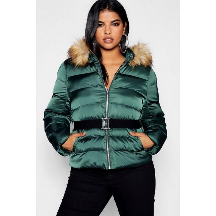 【海外限定】boohoo plus ブーフー ブーフープラス 【 belted puffer jacket 】