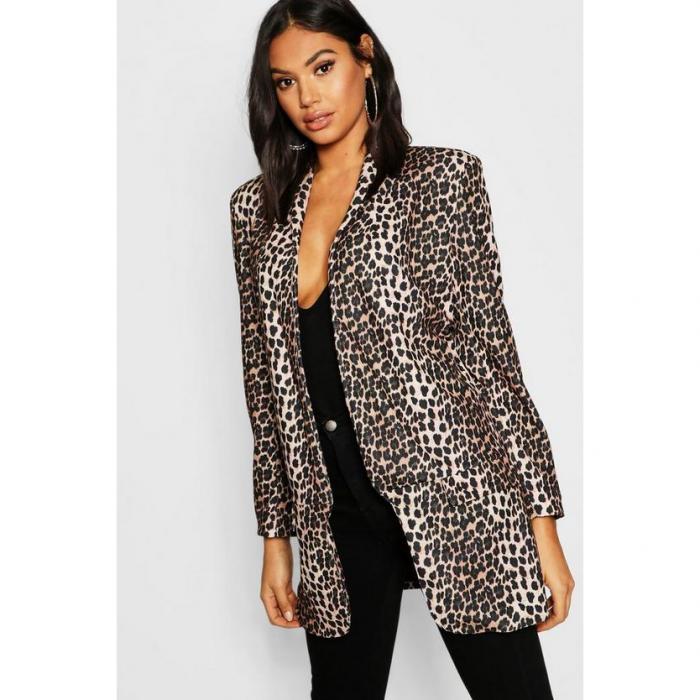 【海外限定】blazer boohoo ブレーザー ブーフー ブレイザー 【 tall leopard print tailored 】