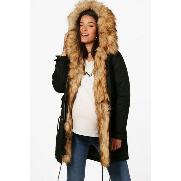 【海外限定】boohoo maternity ブーフー 【 faux fur trim parka 】