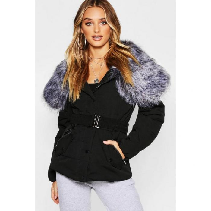 【海外限定】boohoo ブーフー 【 oversized faux fur collar belted parka 】