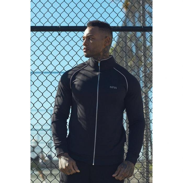 【海外限定】boohoo boohooman ブーフー トラック 【 active gym track top with reflective piping 】