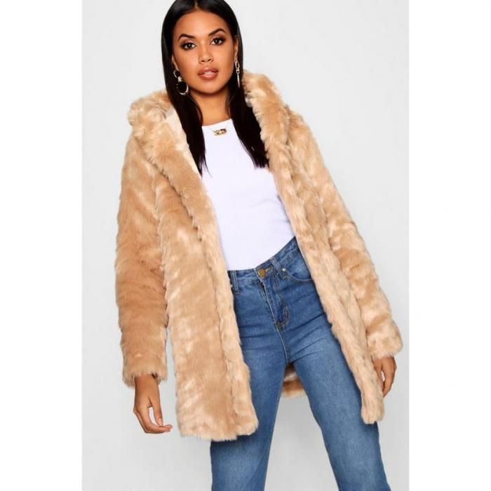 【海外限定】boohoo ブーフー 【 textured hooded faux fur coat 】