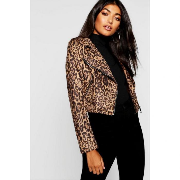 【海外限定】boohoo ブーフー 【 leopard print suedette biker jacket 】