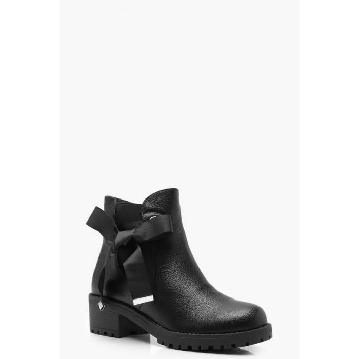 【海外限定】boohoo ブーフー 【 ribbon tie chunky chelsea boots 】