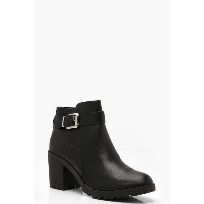 【海外限定】boohoo ブーフー 【 croc panel block heel chelsea boots 】