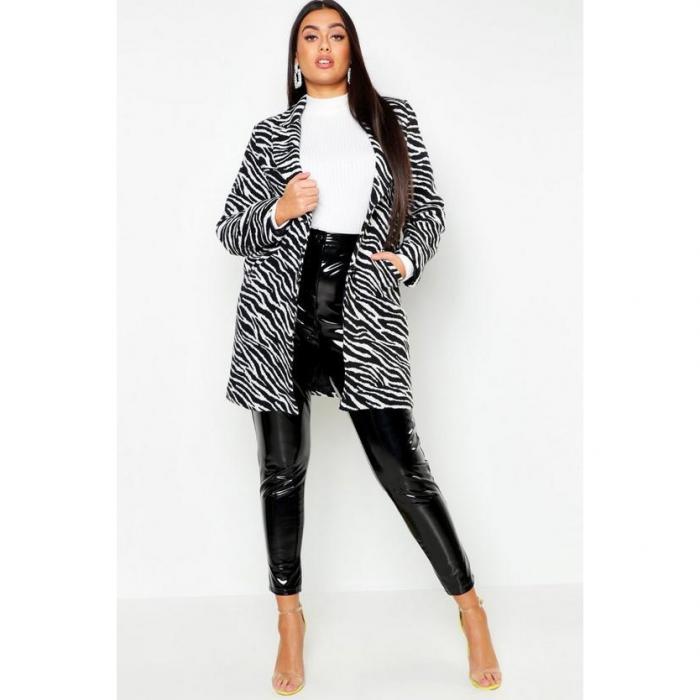 【海外限定】boohoo maternity ブーフー 【 plus zebra print coat 】