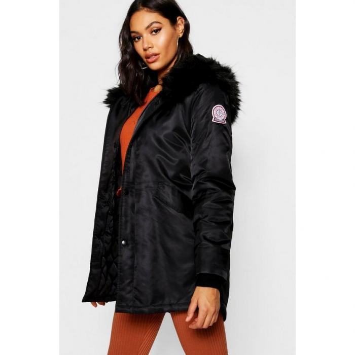 【海外限定】boohoo ブーフー 【 luxe faux fur trim sporty parka 】