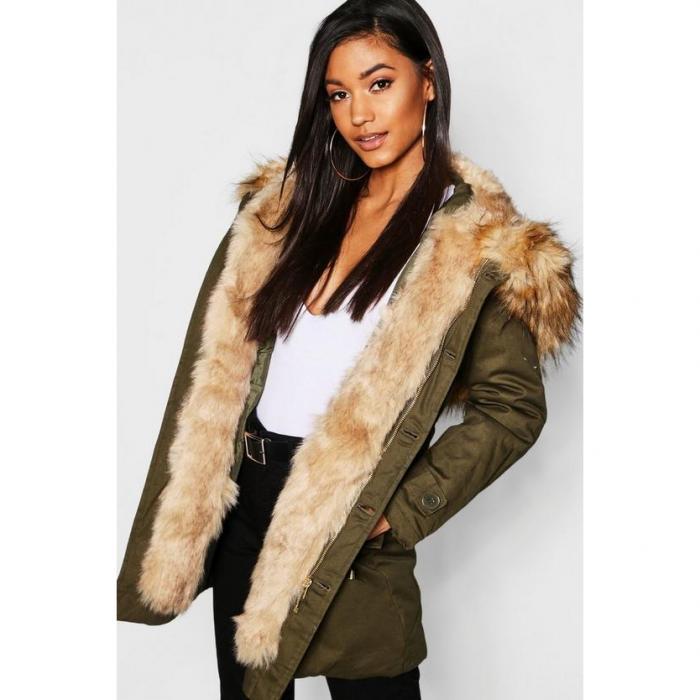【海外限定】boohoo ブーフー 【 boutique faux fur trim hood parka 】