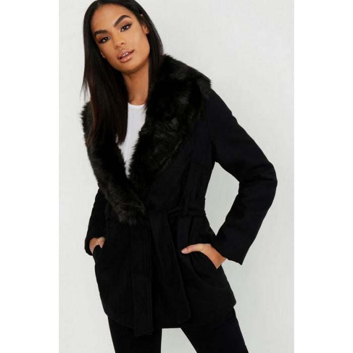 【海外限定】boohoo ブーフー 【 tall faux fur collar wool look coat 】