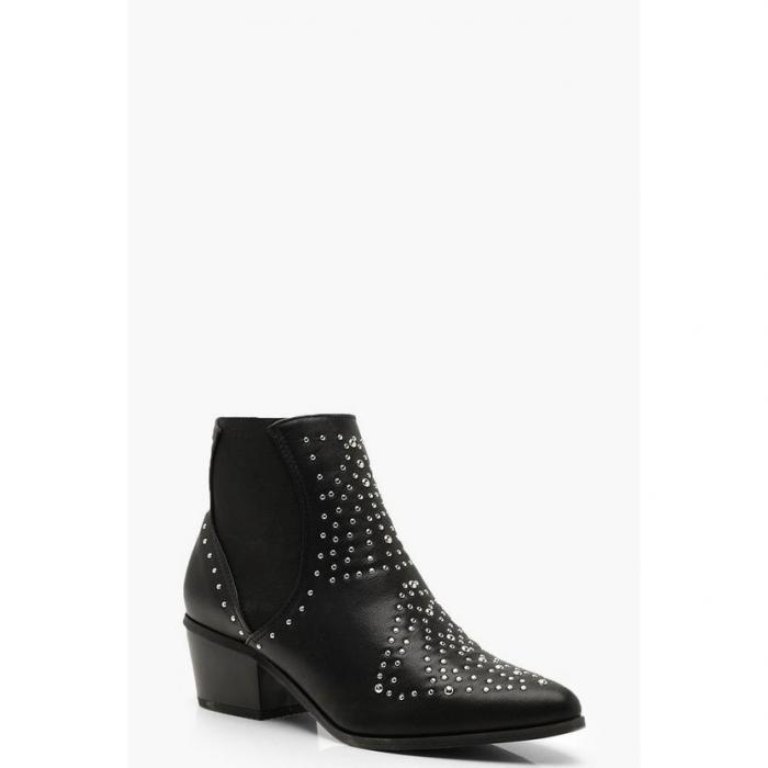 【海外限定】boohoo ブーフー 【 studded elastic insert western boots 】