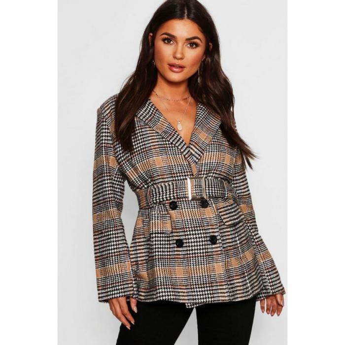 【海外限定】blazer boohoo ブレーザー ブーフー ブレイザー 【 check belted wool look 】