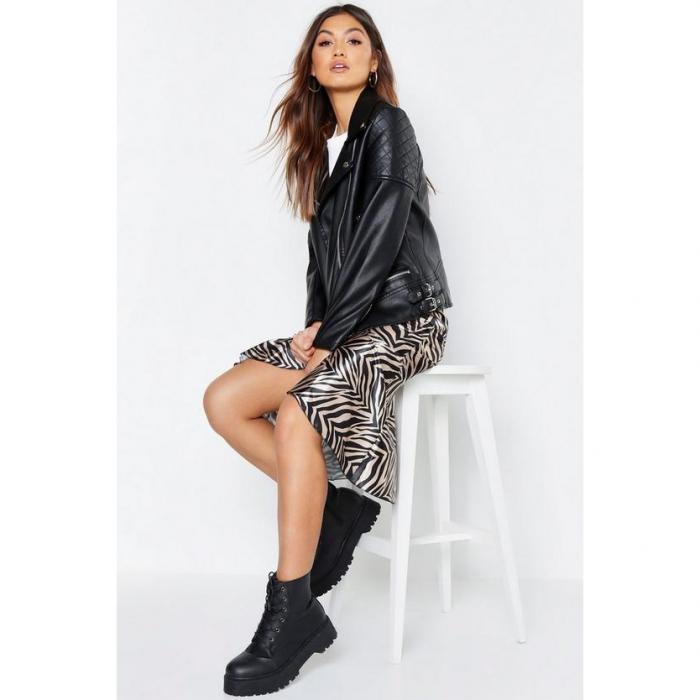 【海外限定】boohoo ブーフー レザー 【 oversized faux leather biker jacket 】