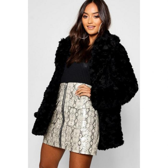 【海外限定】boohoo petite ブーフー ブーフープチ 【 textured luxe faux fur coat 】