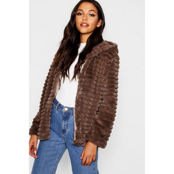 【海外限定】boohoo ブーフー 【 hooded faux fur coat 】