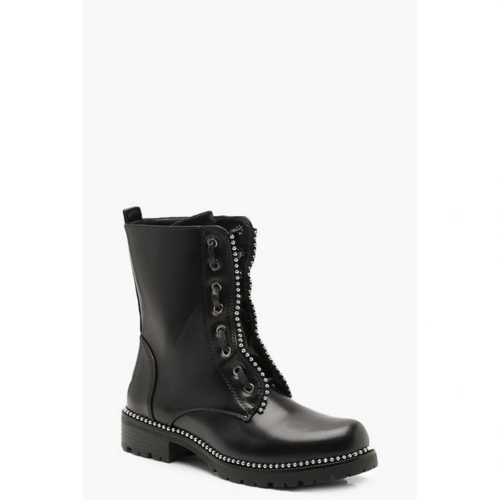 【海外限定】boohoo ブーフー 【 ribbon detail chunky biker boots 】