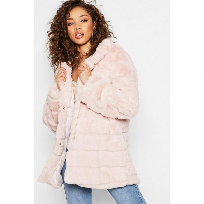 【海外限定】boohoo ブーフー 【 hooded panelled faux fur coat 】