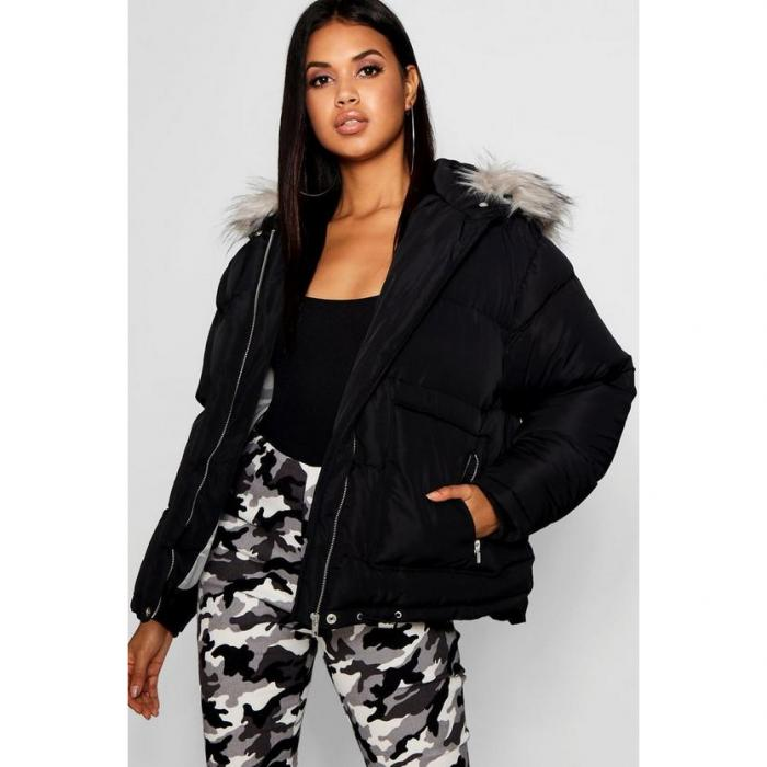 【海外限定】boohoo ブーフー 【 faux fur trim puffer jacket 】