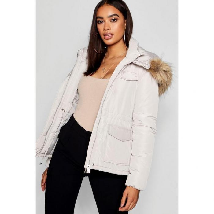【海外限定】boohoo ブーフー 【 pocket detail faux fur trim puffer jacket 】
