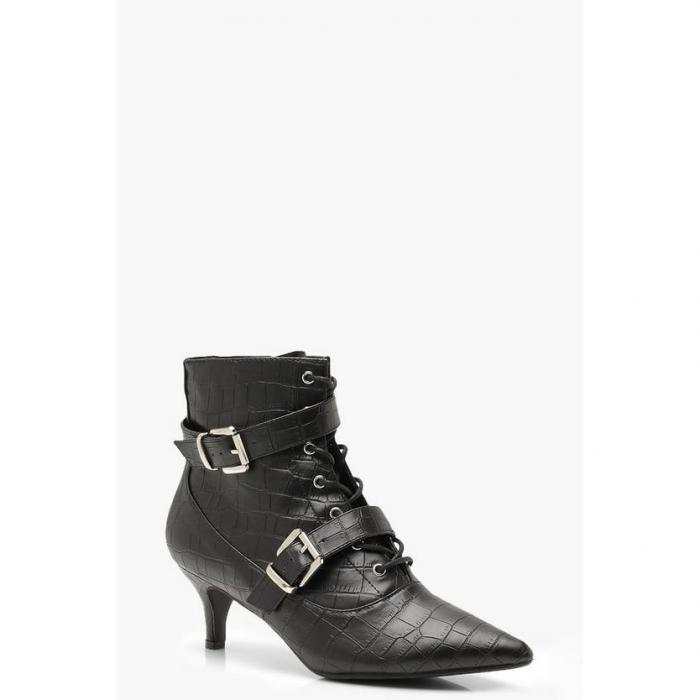 【海外限定】boohoo ブーフー バックル 【 croc buckle trim shoe boots 】 レディース靴