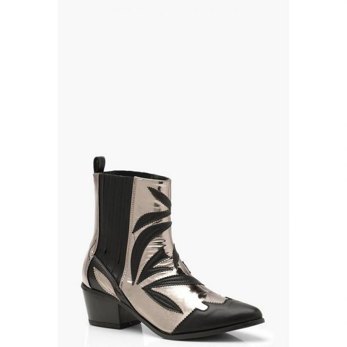 【海外限定】boohoo ブーフー 【 contrast metallic detail western cowboy boots 】