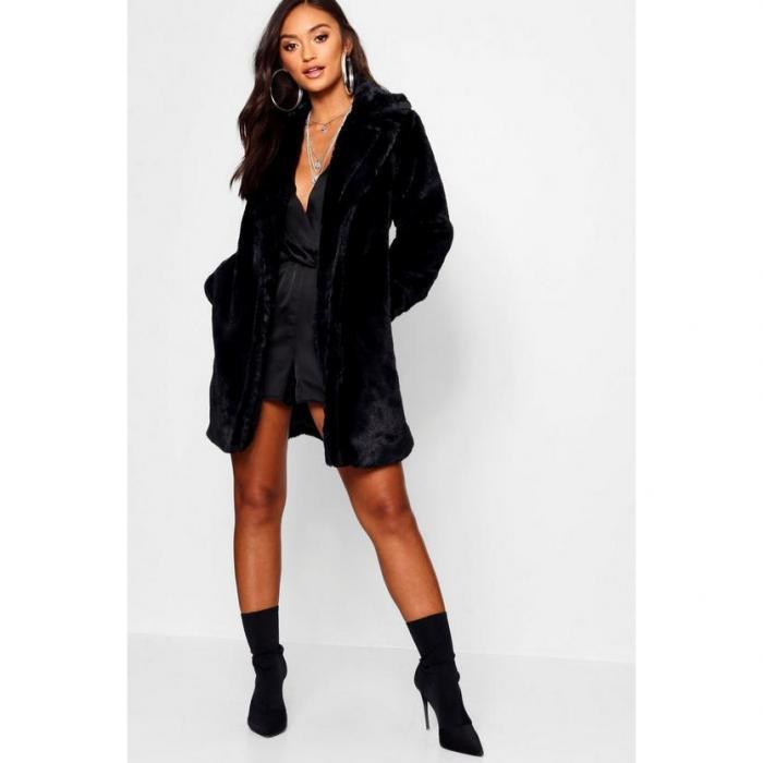 【海外限定】boohoo petite ブーフー ブーフープチ 【 collared faux fur coat 】