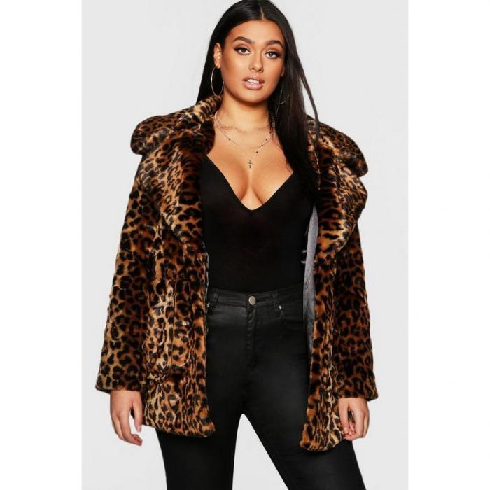 【海外限定】boohoo plus ブーフー ブーフープラス 【 leopard faux fur coat 】