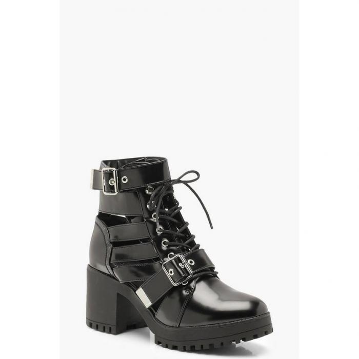 【海外限定】boohoo ブーフー 【 cut work chunky cleated hiker boots 】